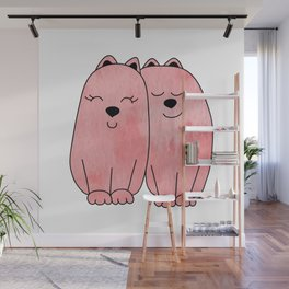 Pink watercolor couple of cats Wall Mural