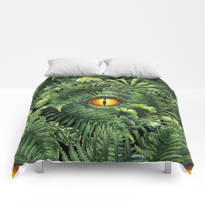 Watercolor dinosaur eye and prehistoric plants Comforters