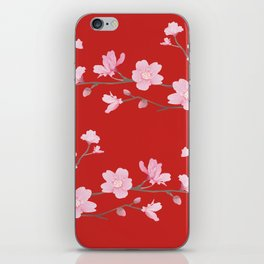 Cherry Blossom - Red iPhone Skin