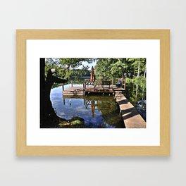 September sky is kissing pond surface Framed Art Print