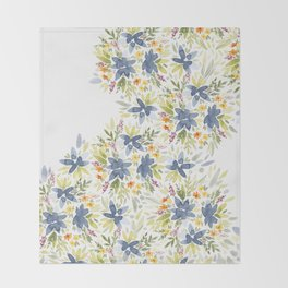Blue Watercolor Florals Throw Blanket