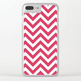 Amaranth Red Chevrons Pattern Clear iPhone Case