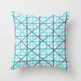 Blue and Rose Checkered Pattern Throw Pillow