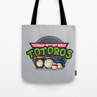 tmnt Tote Bags featuring TMNT by fishbiscuit