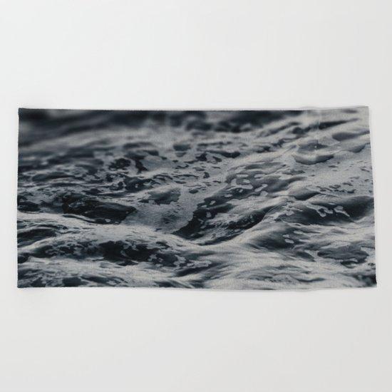 Ocean Magic Black and White Waves Beach Towel