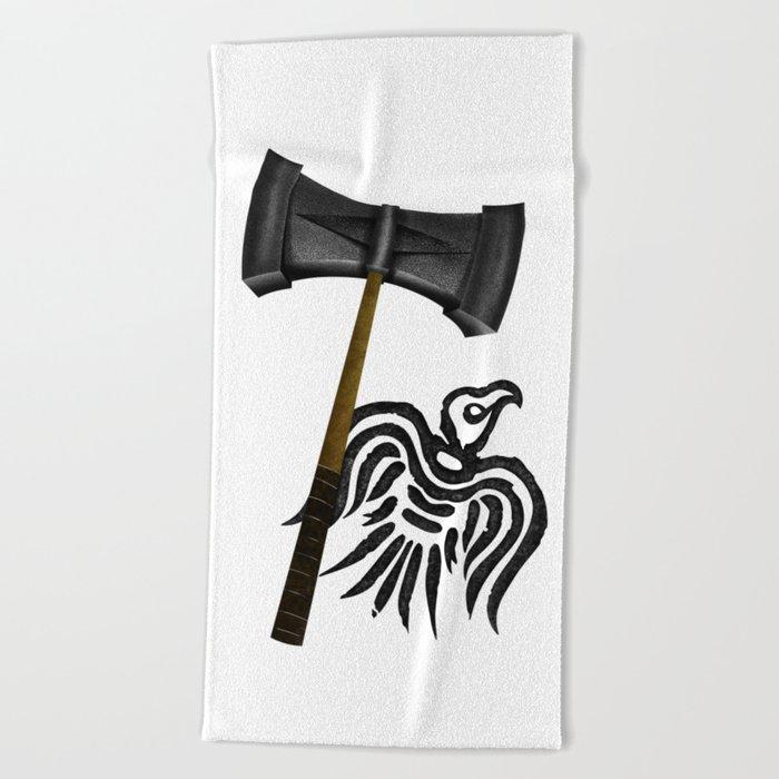 Thor Viking War Hammer Beach Towel