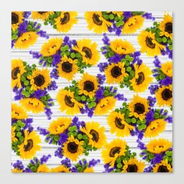 Rustic white wood purple yellow sunflower floral Canvas Print