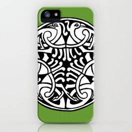 Celtic Art - Interlaced Birds - on Green iPhone Case