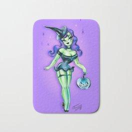 Pinup Witch with Jack-o'-lantern Bath Mat