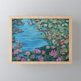 Lily Pond, Impressionism Painting, Pond Flowers Framed Mini Art Print