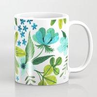 oana befort Mugs featuring FLORA BLUES by Oana Befort