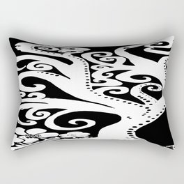 Twisting and Twirling Tree in Black and White Rectangular Pillow