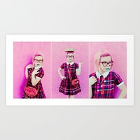 Pink & Plaid Art Print