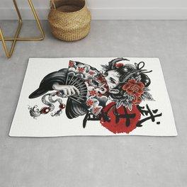 Cyberpunk Geisha Vaporwave Popart Girl Illustration  Rug