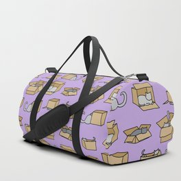 Cats in Cardboard Boxes, on Lavender Duffle Bag