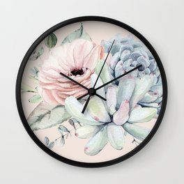 Elegant Blush Pink Succulent Garden by Nature Magick Wall Clock