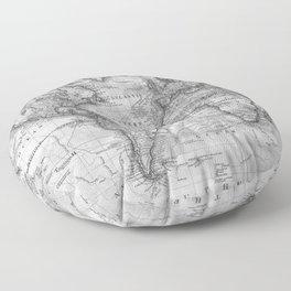 Black and White World Map (1801) Floor Pillow