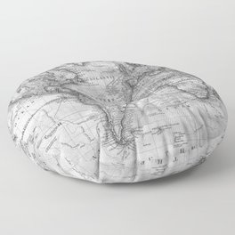 Black and White World Map (1801) Floor Pillow
