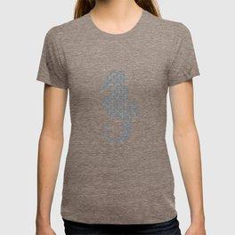 Blue Watercolor Seahorse pattern - Lo Lah Studio T-shirt