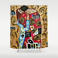 gustav klimt Shower Curtains featuring The Embrace - An Ode to Klimt by LadyJennD
