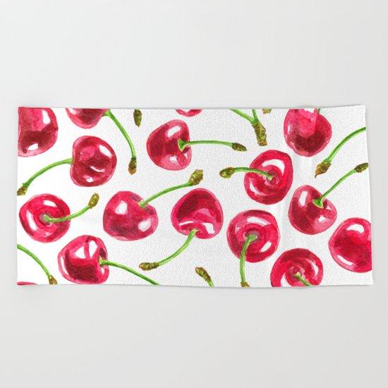 Watercolor cherries pattern Beach Towel