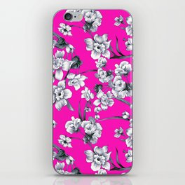 Modern neon pink black white abstract floral iPhone Skin