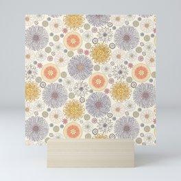 Colourful Flower Medley on Cream Mini Art Print