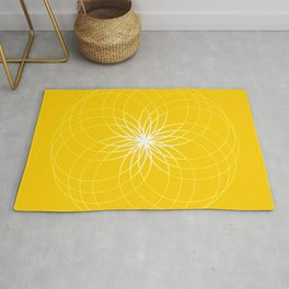 Minimalist Geometric Sunny Circular Floral Art in Mustard, Gold and White Rug