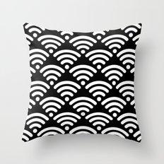 WiFi Pattern (white on black) Throw Pillow