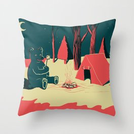 Toasty Bear Campsite Throw Pillow