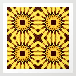Sunflowers Yellow & Brown Pinwheel Flowers Art Print
