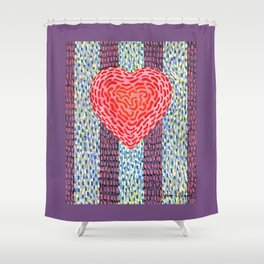 High Energy Squiggle Heart - Impressionist Heart Art Shower Curtain