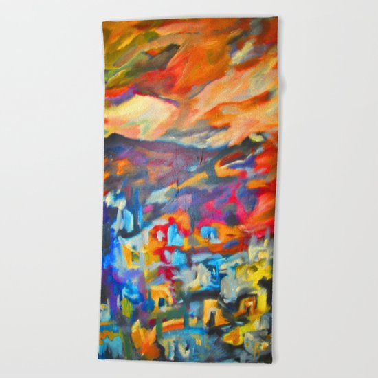 My Village | Colorful Small Mountainy Village Beach Towel