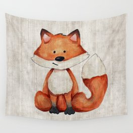 Little Fox, Baby Fox, Baby Animals, Forest Critters, Woodland Animals, Nursery Art Wall Tapestry