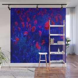 Red in Blue Wall Mural