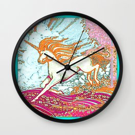 Mythical Unicorn Running in  Meadow Fantasy Art Wall Clock