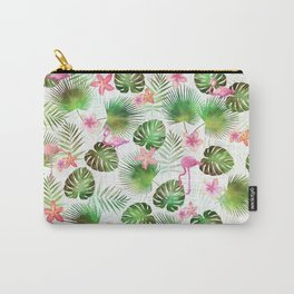 Stylish foliage and flamingo birds tropical motif design Carry-All Pouch