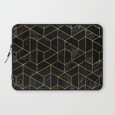 Black Marble Hexagonal Pattern Laptop Sleeve