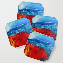 Red Flowers Blue Mountains Abstract Landscape Coaster