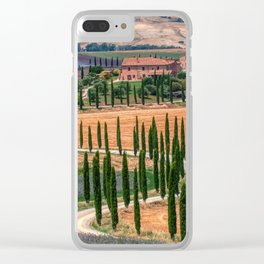 Cypress trees and meadow Clear iPhone Case