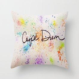 Carpe Diem Paint Splatter Throw Pillow