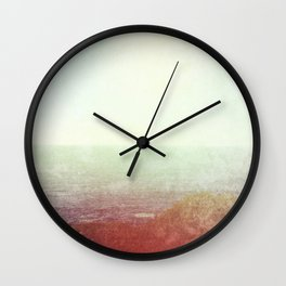 Abstract pastel mint green pink red summer nature landscape Wall Clock