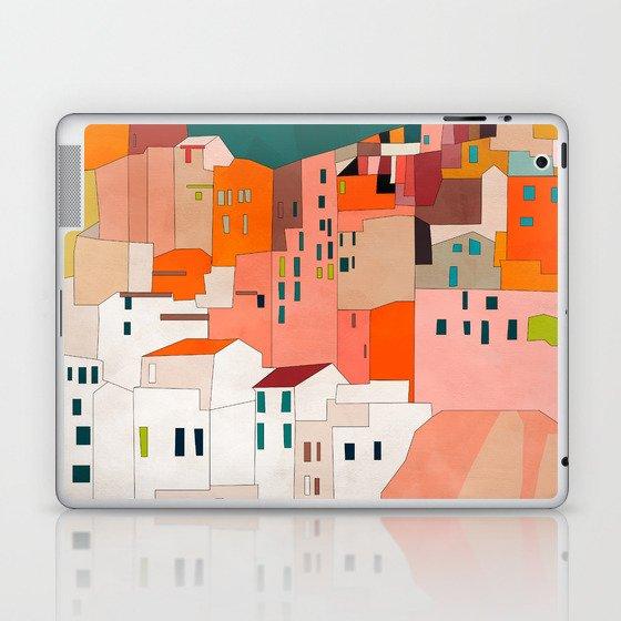 italy coast houses minimal abstract painting Laptop & iPad Skin