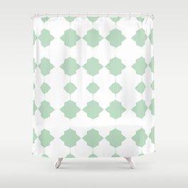 Minty_Geo_Love_ Shower Curtain