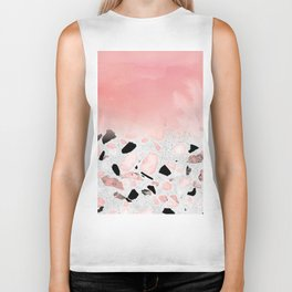 Modern abstract watercolor and marble design Biker Tank