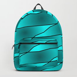 Slanting iridescent lines and rhombuses on light blue with intersection of glare. Backpack