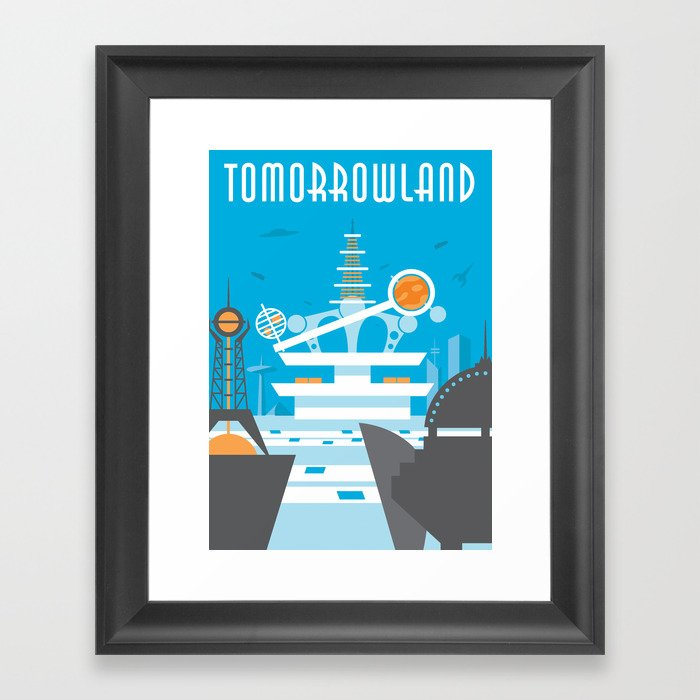 tomorrowland travel poster framed art print by robyeo