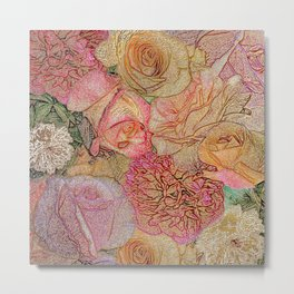 A Field Of Roses - Colored Pencil & Golden Highlights Metal Print
