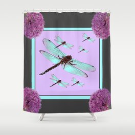 SPRING  BLUE DRAGONFLY FLIGHTS MODERN ART DESIGN Shower Curtain