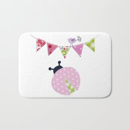 Ladybug with party flags Bath Mat